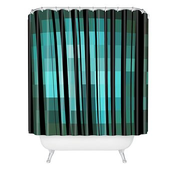 Madart Inc. Black Stripes Romantic Evening Shower Curtain