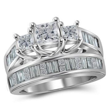 14kt White Gold Womens Princess Diamond 3-Stone Bridal Wedding Engagement Ring Band Set 2.00 Cttw