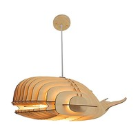 HROOME Unique Design Wood Hanging Pendant Ceiling Light Fixture with Cord DIY Decorative Whale Large Suspended Chandelier Lamp Shade for Bar Kitchen Dining Room (Large)