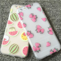 Hot Sale! Summer Cool Watermelon Pineapple Lemon Strawberry Light Soft TPU Phone Back Cover Phone Case For Iphone 6 Plus 5.5""