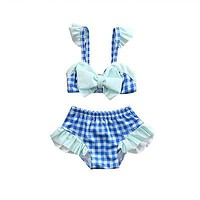 Summer Baby Girls Kid Grid Bow Plaid Bikini Suit Swimwear Swimsuit Bathing Swimming Swim able