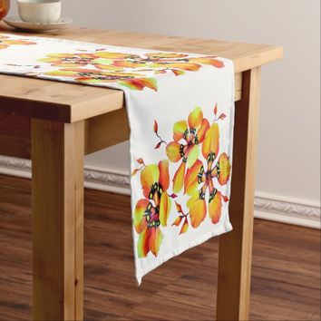 Elegant Orange Flowers Short Table Runner
