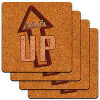 What's Up Casual Hello Greeting Low Profile Cork Coaster Set