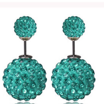 Turquoise Pavé Crystal Double Stud Earrings