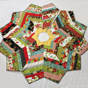 Christmas Tree Skirt String Pieced with Basic Greys from Moda - MADE TO ORDER