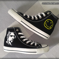 Kurt Cobain 'NIRVANA' Custom Converse / Painted Shoes