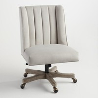 Dove Velvet Ava Channel Back Upholstered Office Chair