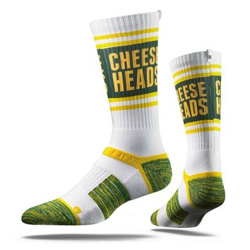 Strideline® 2.0 Cheese Heads Green Bay Packers City Line Crew Socks NEW