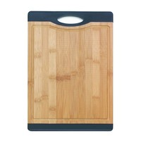 Bamboo Cutting Board With Black Or Red Rubber Handle