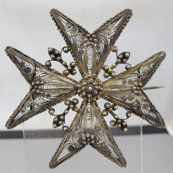 Victorian Cannetille Maltese Cross Brooch Filigree Wire Work Fleur Di Lis Bead Work Antique Jewelry