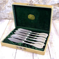 Antique Sterling Fruit Knives, Set of Six, Nussbaum and Hunold, Stainless Steel Blades, Original Box