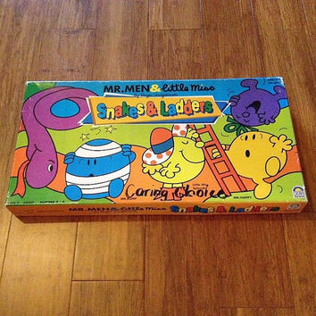 Vintage 1996 Mr Men and Little Miss (By Roger Hargreaves) Snakes & Ladders Board Game / Complete Game / Children's Game