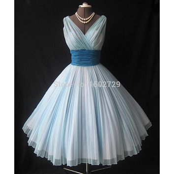 Vintage 1950's Ball Gown Tea-length Short Prom Dresses 2017 Abendkleider V-Neck Pleated Organza Mid-calf Homecoming Party Dress