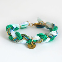 Initial bracelet, emerald green bracelet with initial charm, green friendship bracelet, green braid bracelet