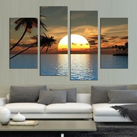 HD Printed Modern Canvas Living Room Pictures 4 Panel Sunset Ocean View Painting Wall Art Modular Poster Framework Home Decor