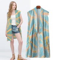 Stylish Sleeveless Print Women's Fashion Tops Jacket [5013177284]