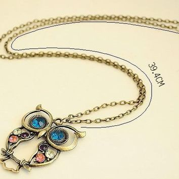 Fashion Crystal Long Owl Necklace