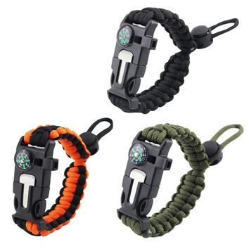 Paracord Bracelet Men Camping Survival Kits Parachute Wristband Emergency Rescue Bracelet Whistle Compass
