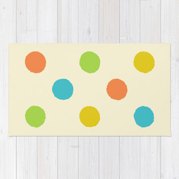 Colorful polka dot pattern Rug by Natalia Bykova