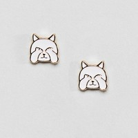 ASOS DESIGN Shy Kitty Stud Earrings at asos.com