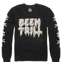 Been Trill Tropics Crew Fleece - Mens Hoodie - Black -