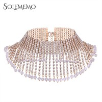 Solememo Luxury Paved Rhinestone Statement Necklace Wide Silver Gold Choker Necklace for Women Wedding Fashion Jewelry N5950
