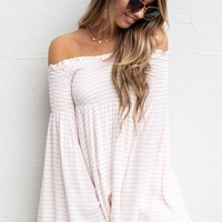 Travel Plans Red Striped Flare Sleeve Dress