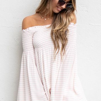 Travel Plans Striped Flare Sleeve Dress