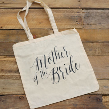 Mother of the Bride Tote Bag - Natural Canvas - Mother of the Bride Gift, Wedding Tote Bags, Bridal Party Gift