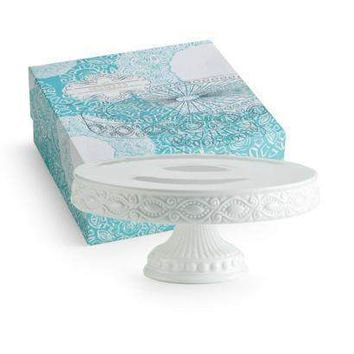 Les Desserts Pedestal Round Skirted Cake Stand in Gift Box 82434