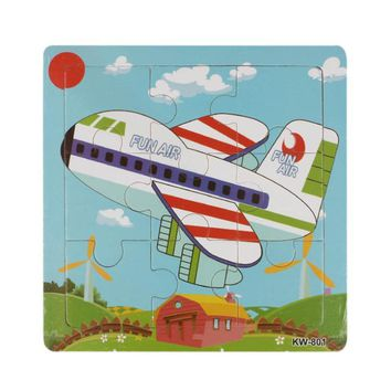 2017 Topsella Colorful Wooden Airplane Education Learning Jigsaw Puzzle Toy for Children Kids 16 PC