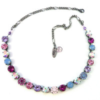BERRY BLOSSOMS 8mm Swarovski crystal necklace, blue, pink, fuchsia, fun and flirty by Siggy