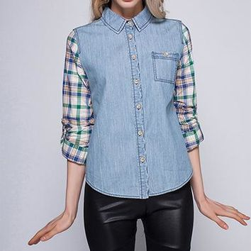 Womens Denim Shirt - Plaid Sleeves / Front Pocket / Button Up