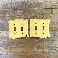Light Switch Covers 2 Double Lightswitch Plate Mid Century Decor Brass Light Switch Cover Cottage Chic Light Switch Plate Art Deco