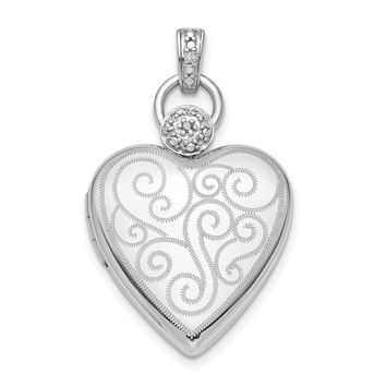 Sterling Silver Rhodium-plate 21mm Diamond Accent Satin Locket QLS806