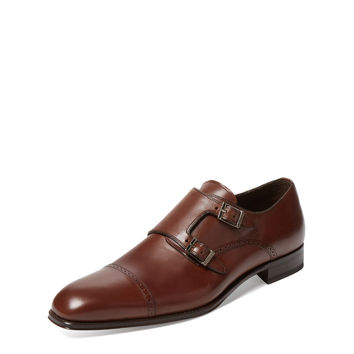 Mezlan Men's Leather Double Monkstrap - Brown -