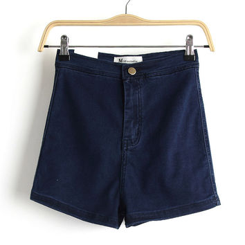 Summer Simple Slim High Waist Denim Shorts [6332313092]
