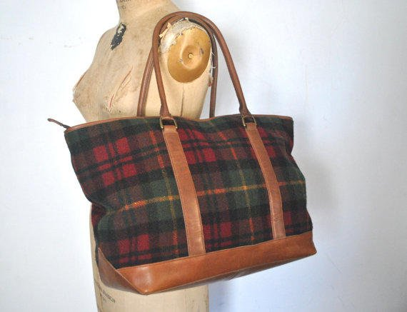 Tremendous Ll Bean Brown Leather Tote Flannel Plaid Weekender Bag Unemploymentrelief Wooden Chair Designs For Living Room Unemploymentrelieforg