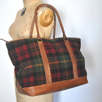 LL Bean Brown Leather Tote / Flannel Plaid Weekender bag