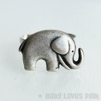 Silver Elephant Ring - Cute elephant charm