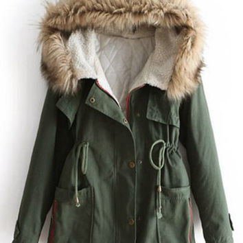 'The Kaelyn'  Army Green Fur Hooded  Coat