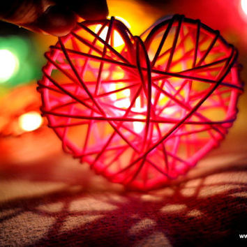 20 Love heart red pink green yellow rattan shape sweet heart candy string light decoration gift home party wedding patio hanging