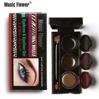 Music Flower Eyebrow Eyeliner Gel Long Wear 24 Hours Lasting Waterproof Smudge-proof Eyes Makeup Cosmetic Tools