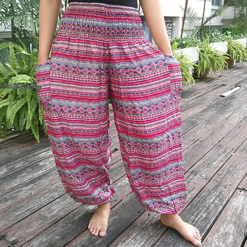 Zen Aztec Stripes Pink Print Trousers Yoga Harem Pants Summer Hippie Baggy Boho Style Gypsy Thai Cool Cloth Tribal Clothing For Beach Unisex
