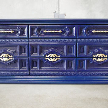 70s Basset  Hollywood Regency Carved Front Dresser - Custom Lacquer - SOLD example of our High gloss Lacquer