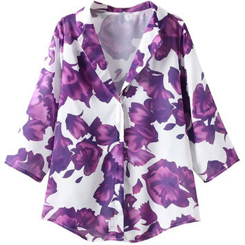 Purple Lapel Floral Print Shirt