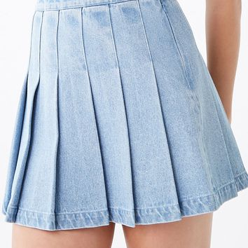 Denim Knife Pleat Mini Skirt