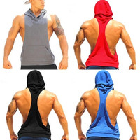 Muscle Vest Men's Bodybuilding Fitness Gym Hoodie Tank Tops Sleeveless Sweatshirts Hoodies [8833531404]