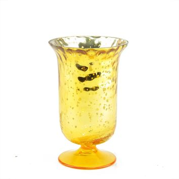 "5.5"" Decorative Yellow and Silver Mercury Glass Votive Candle Holder"