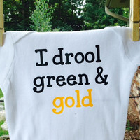 I drool Green & Gold baby bodysuit, Packers football, Packers